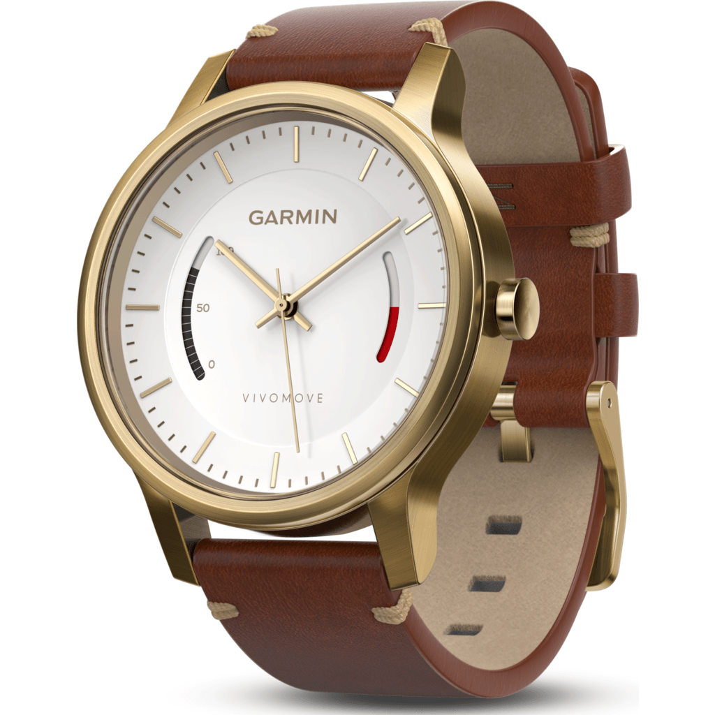 Garmin Vivomove Premium Activity Tracking Watch | Gold Stainless Steel/Leather 010-01597-23