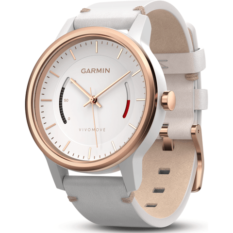 Garmin Vivomove Classic Activity Tracking Watch | White/Leather 010-01597-13