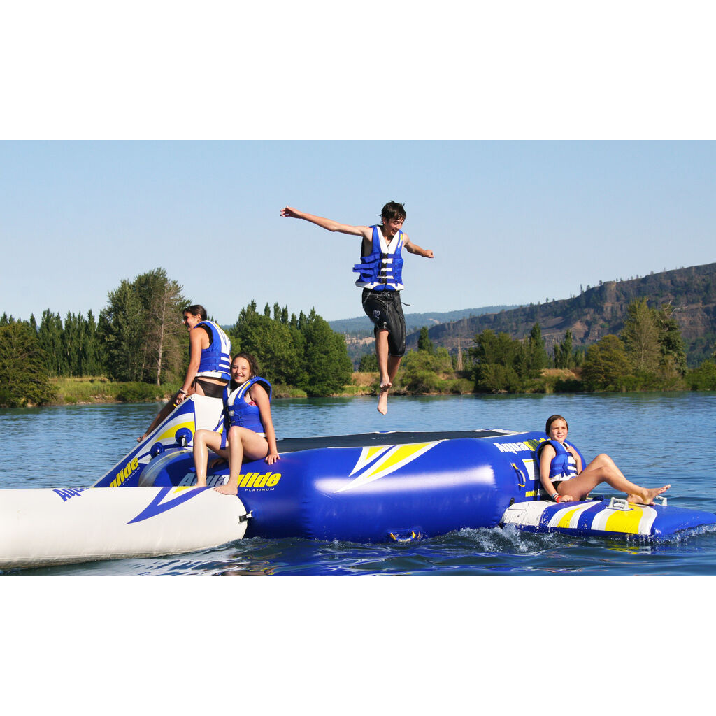 Aquaglide Rebound 12 Inflatable Trampoline w/ Log & Slide | Yellow/Blue/White 58-5209200