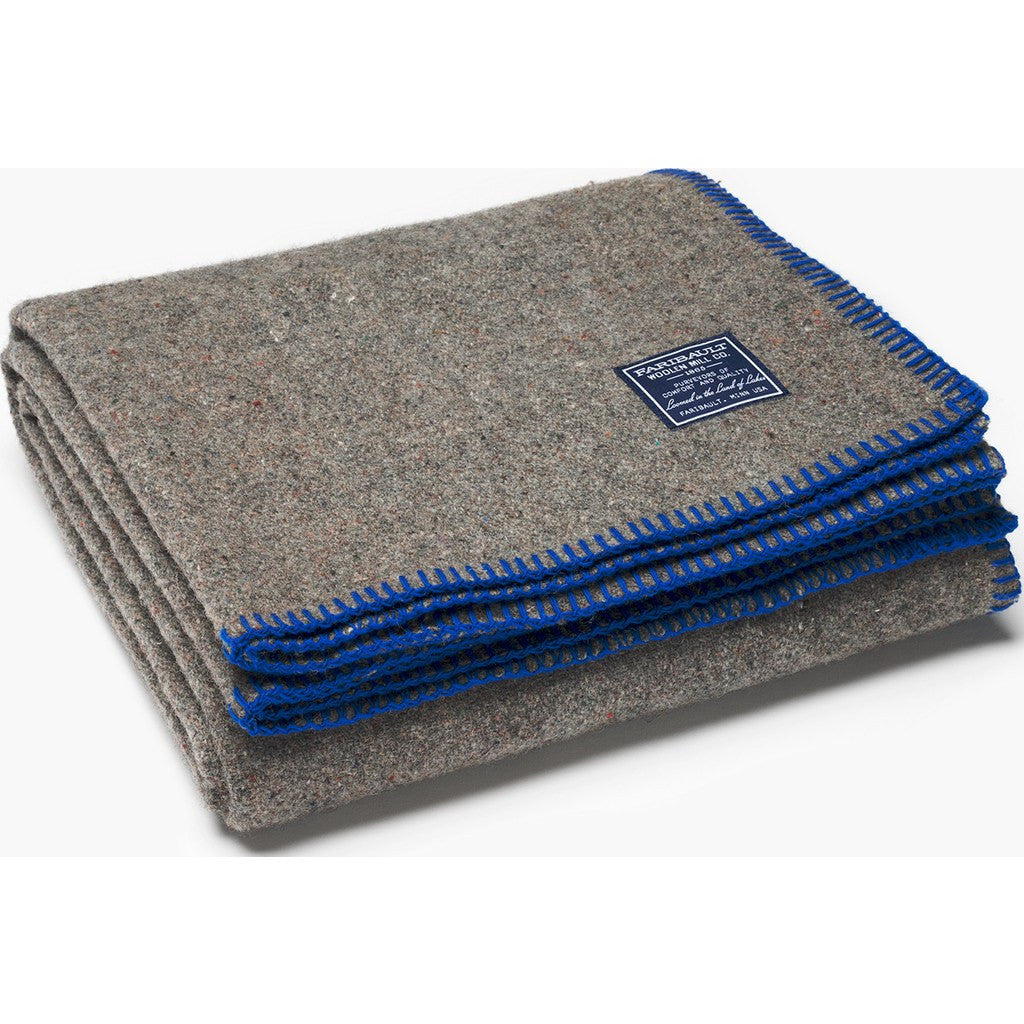 Faribault Eco-Woven Wool Throw | Navy 19027 50x72
