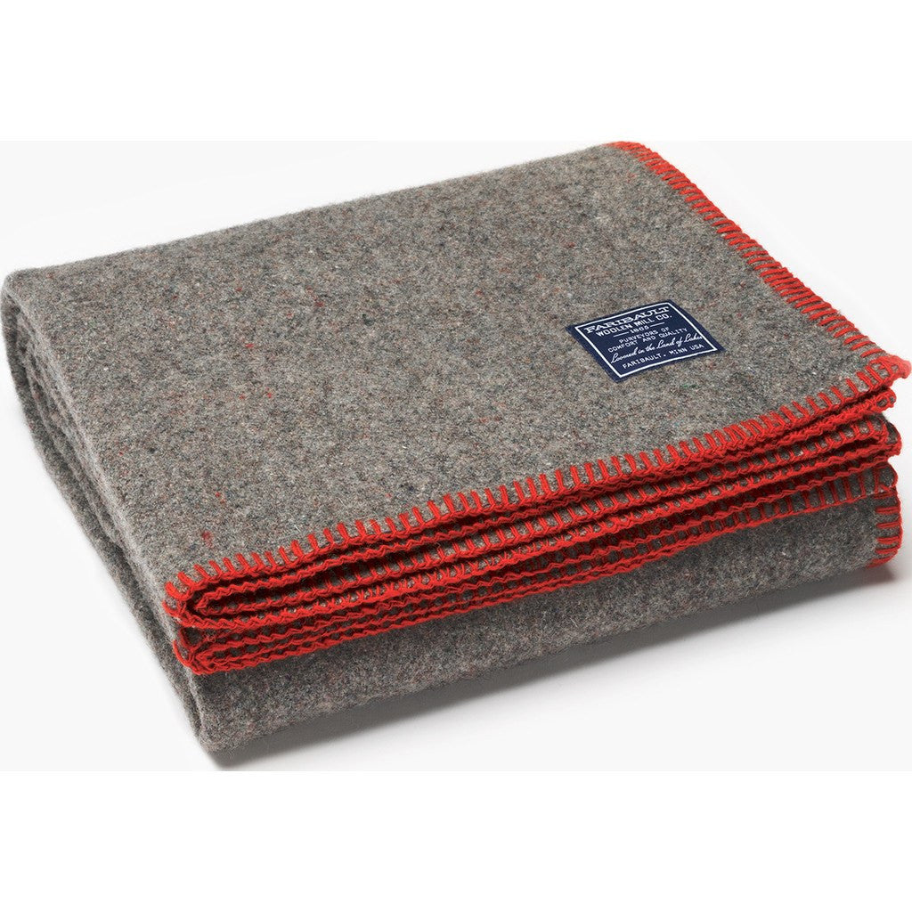Faribault Eco-Woven Wool Throw | Red 14299 50x72