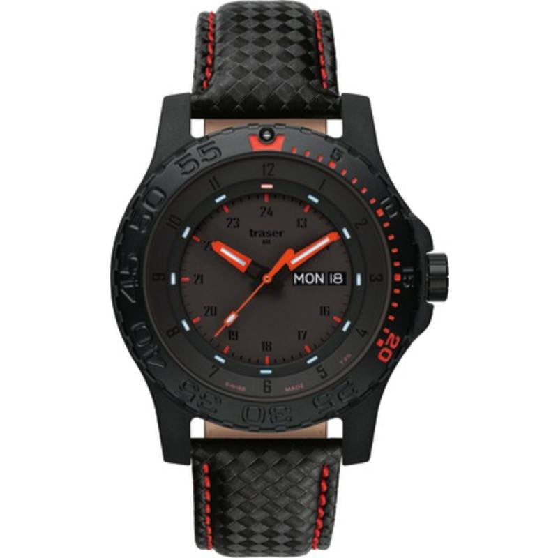traser H3 Red Combat Watch | Leather Red Stitch Strap 105502