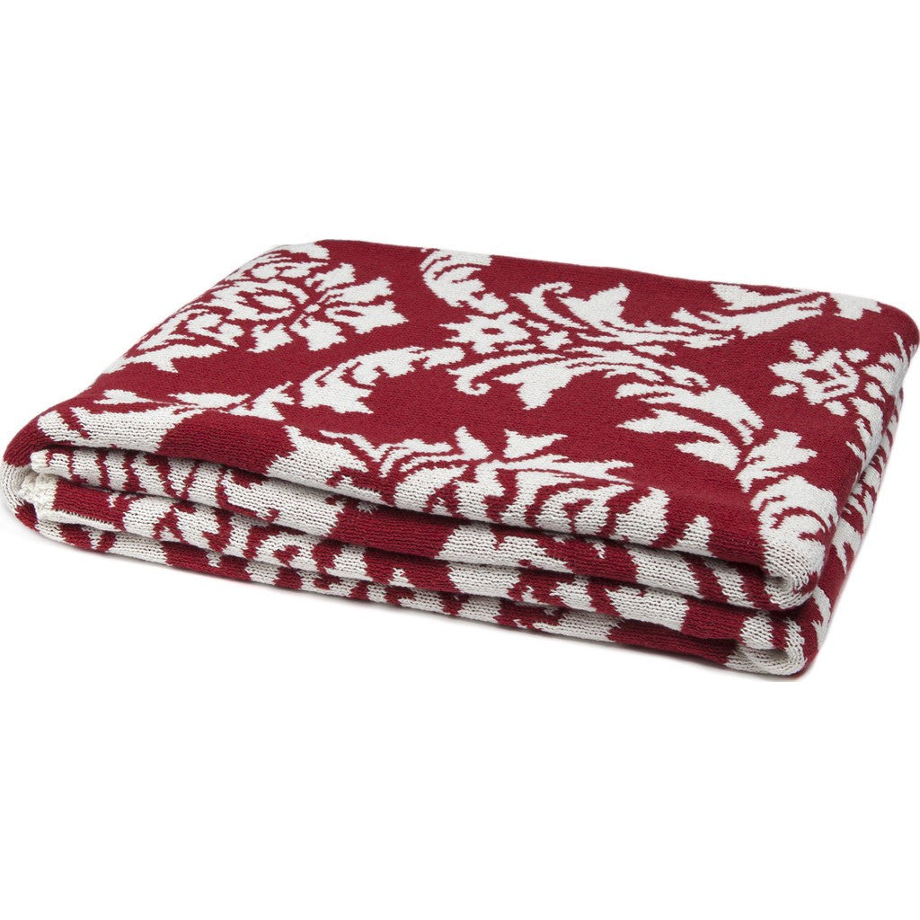 in2green Damask Reversible Eco Throw | Pomegranate/Milk BL02RDK3