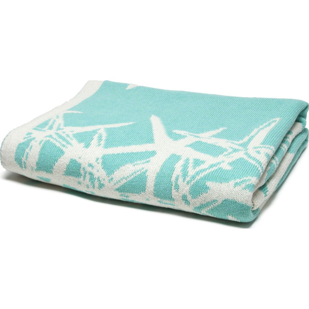 in2green Tumbling Starfish Reversible Eco Throw | Seafoam/Milk BL02RTS5