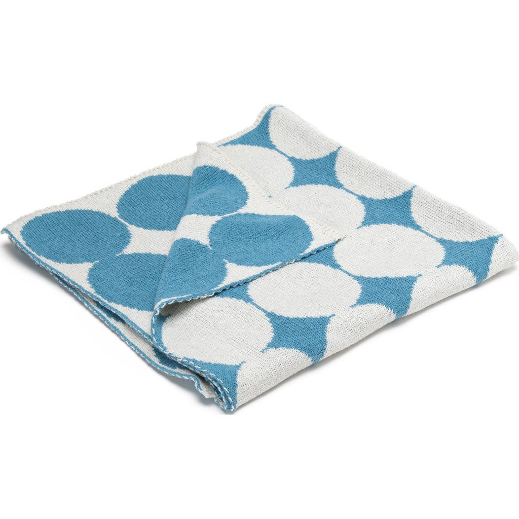 in2green Baby Dots Reversible Eco Throw | Aqua/Milk BB02RD4