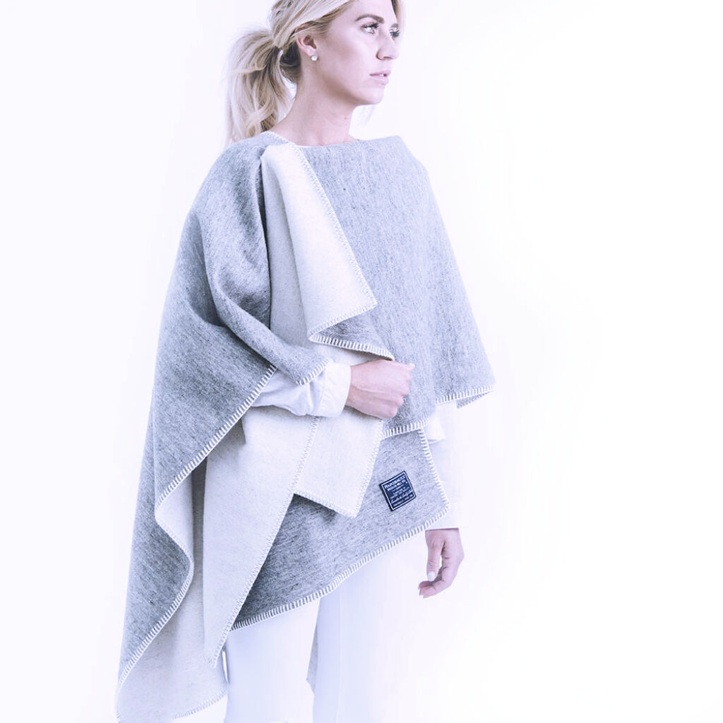 Reversible Solid Wool Wrap - Natural Gray