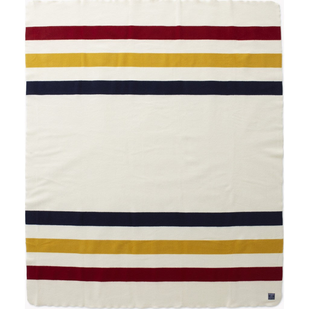 Faribault Revival Stripe Wool Blanket | Bone White 1572 Twin/1589 Queen