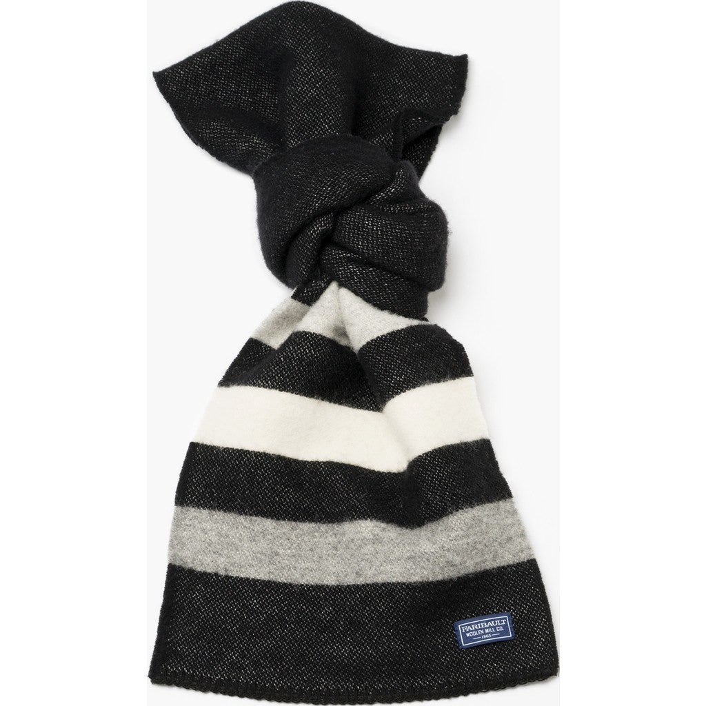 Faribault Revival Stripe Wool Scarf | Black/Heather Gray 16941 10x72