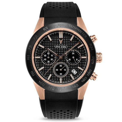 Vincero Men's Rogue Chronograph Sport Rose Gold Watch | Black Silicone Strap Rg-Bla-X06
