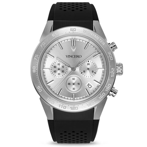 Vincero Men's Rogue Chronograph Sport Silver Watch | Silicone Strap SilS-Bla-X10