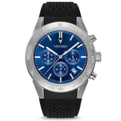 Vincero Men's Rogue Chronograph Sport Cobalt Blue Watch | Silicone Strap BluS-Bla-X11