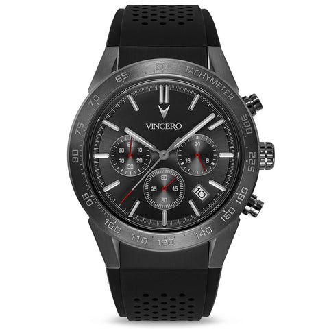 Vincero Men's Rogue Chronograph Sport Gunmetal/Red Watch | Silicone Strap GraS-Bla-X12