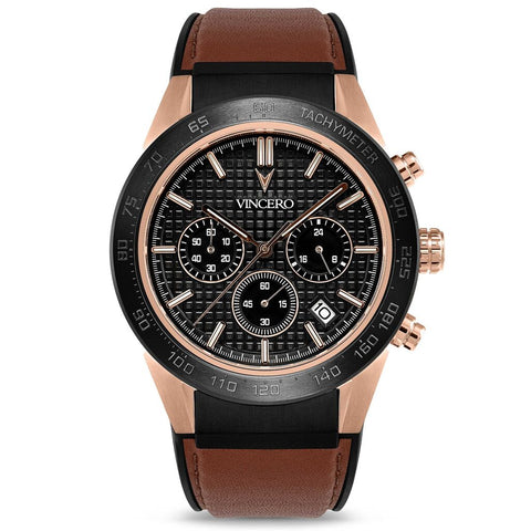 Vincero Men's Rogue Chronograph Sport Rose Gold Watch | Brown Leather Strap Rg-Bro-X07