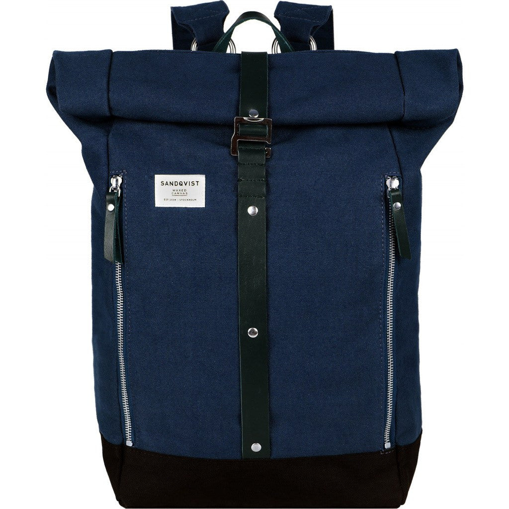 Sandqvist Rolf Rolltop Backpack Waxed Blue SQA667 - Sportique e1b904a2ec47b