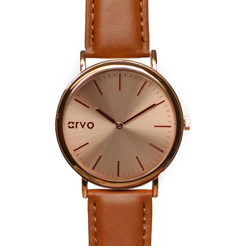 Arvo Rose Time Sawyer Watch | Rose/Brown RTSBR