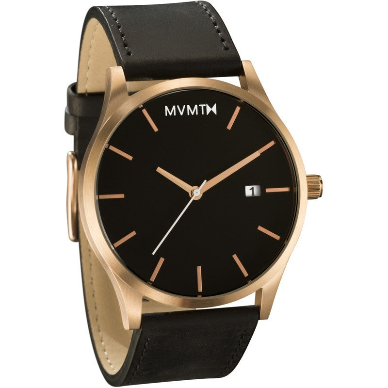 MVMT Watch | Rose Gold/Black Leather