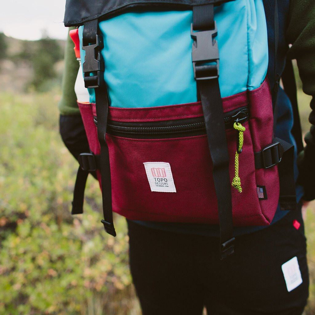 Topo Designs Rover Pack Backpack | Aqua/Burgundy