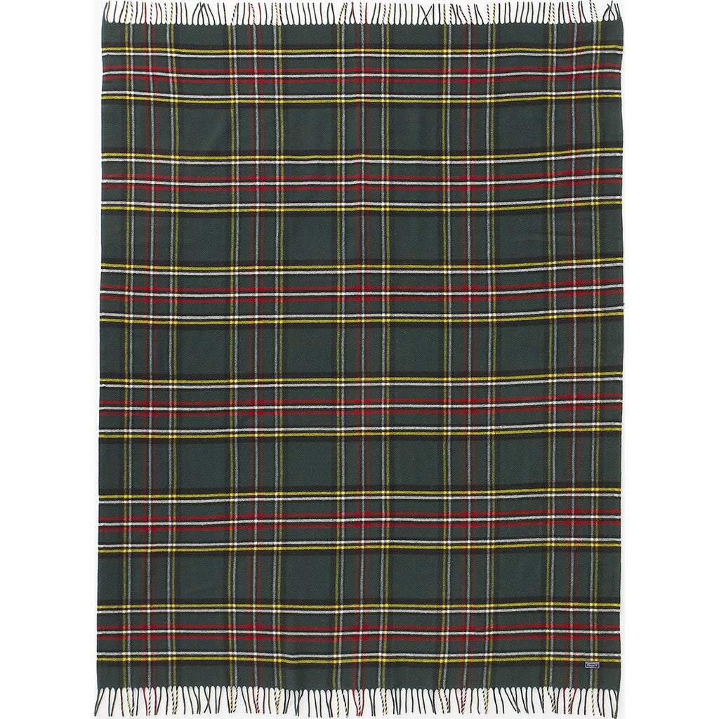 Faribault Royal Carefree Stewart Plaid Wool Throw | Green Plaid 12639 50x72