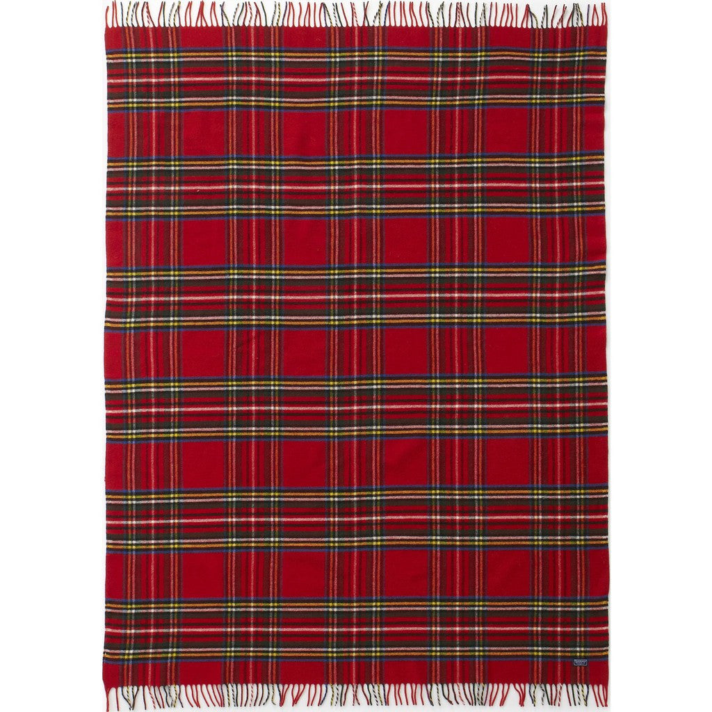 Faribault Royal Carefree Stewart Plaid Wool Throw | Red Plaid 12615 50x72