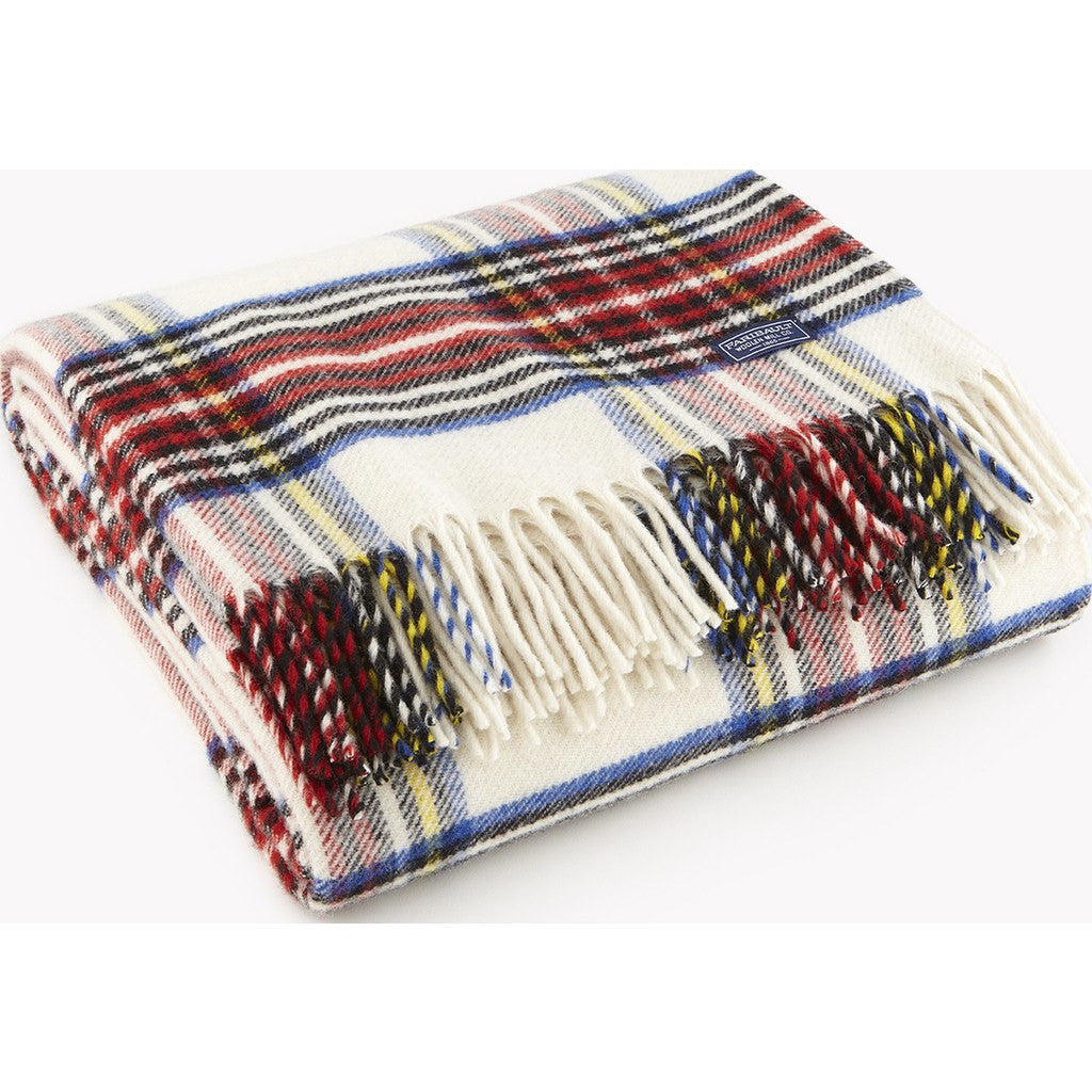 Faribault Royal Carefree Stewart Wool Throw | White Plaid 12622 50x72