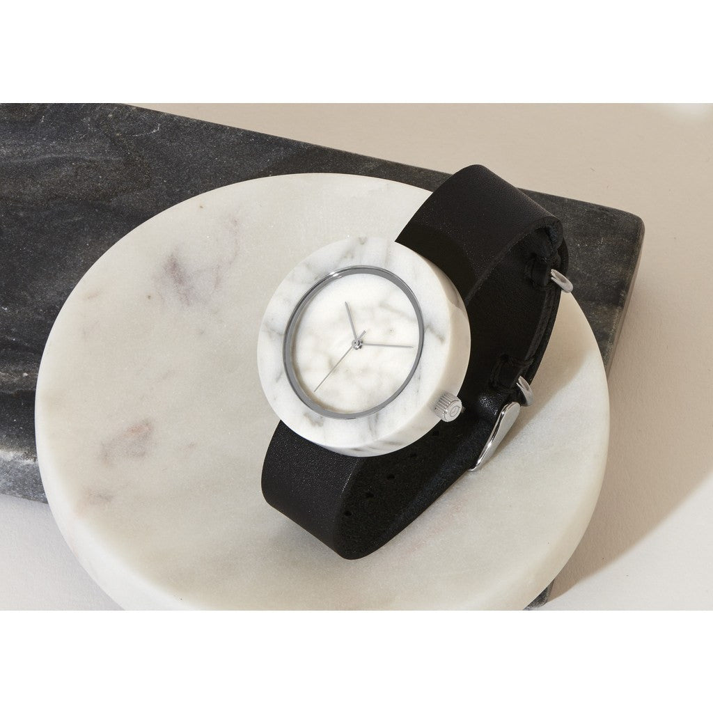 Analog Mason Genuine White Marble Circular Watch | Black Strap sb-wo