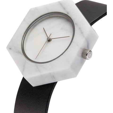 Analog Mason Genuine White Marble Hex Watch | Black Strap sb-wx