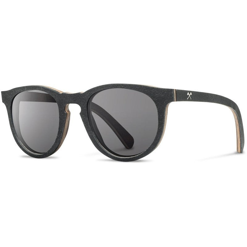 Shwood Belmont Stone Sunglasses | Black Slate / Grey Polarized
