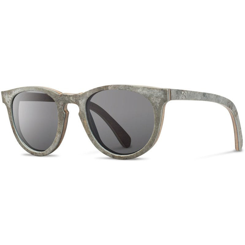Shwood Belmont Stone Sunglasses | White Slate / Grey Polarized