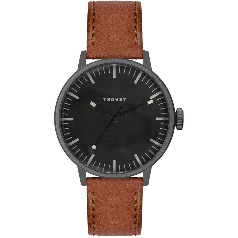Tsovet SVT-SC38 Swiss Quartz Black & Grey Watch | Brown Leather