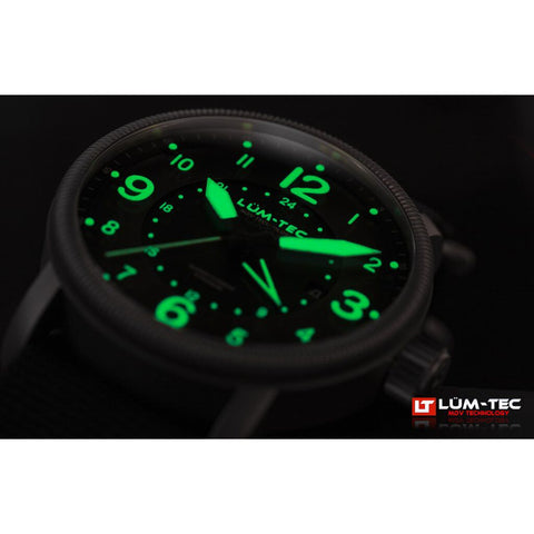 Lum-Tec Super Combat B4 GMT Watch | Brown Leather w/ Black Nylon Strap
