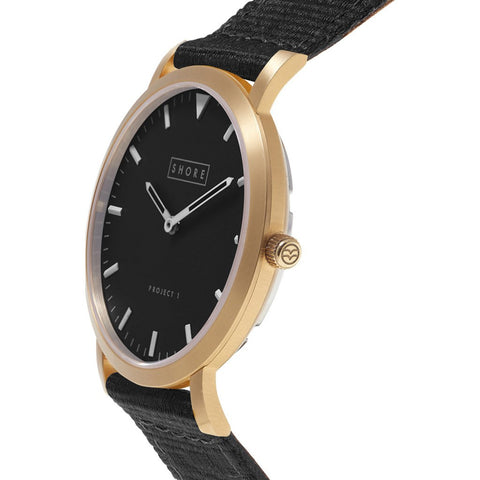 Shore Projects St Ives Watch with Classic Strap | Gold / Charcoal / Black S036G
