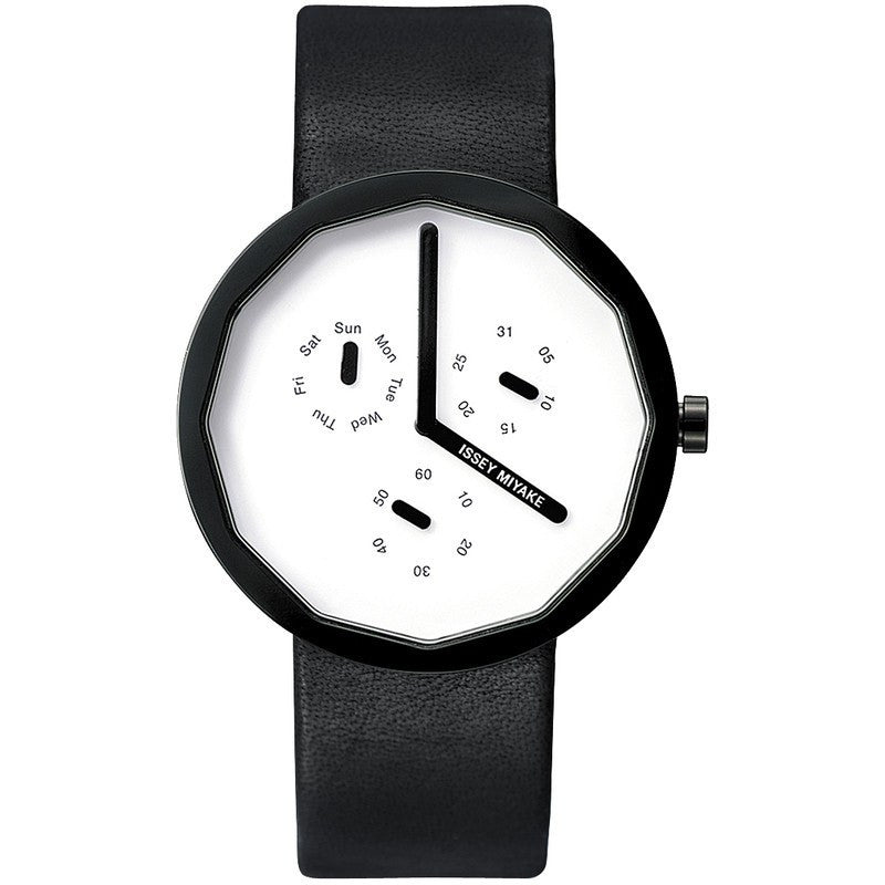 Issey Miyake Twelve White Watch | Black/Leather SILAP008