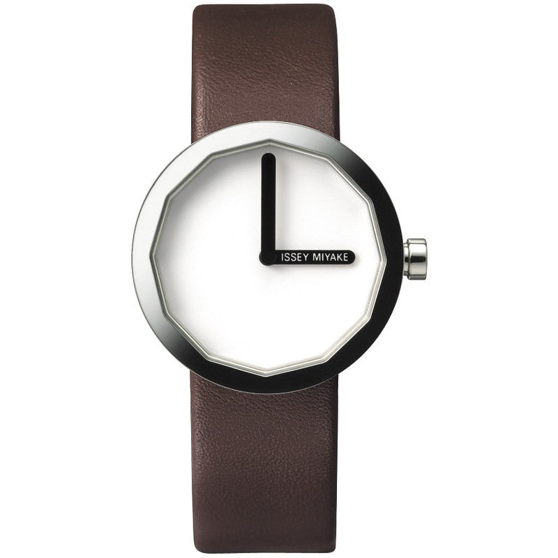 Issey Miyake Twelve White Women's Watch | Brown Leather SILAP015