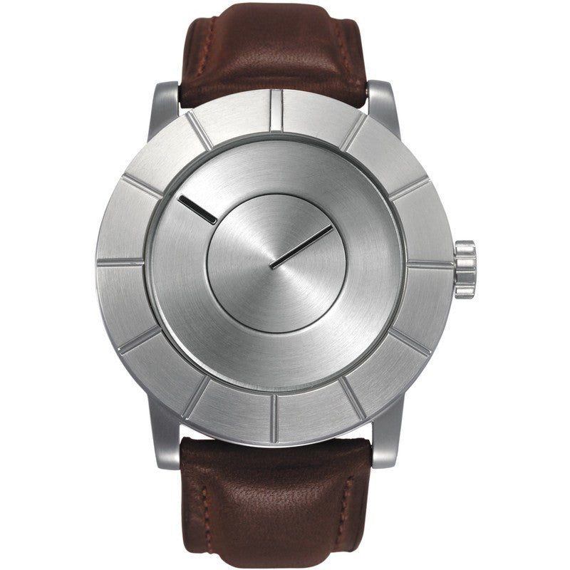Issey Miyake TO Automatic Men's Silver Watch | Brown Leather SILAS003