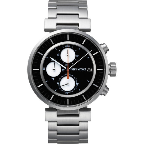 Issey Miyake W Black Chronograph Watch | Silver Steel SILAY001