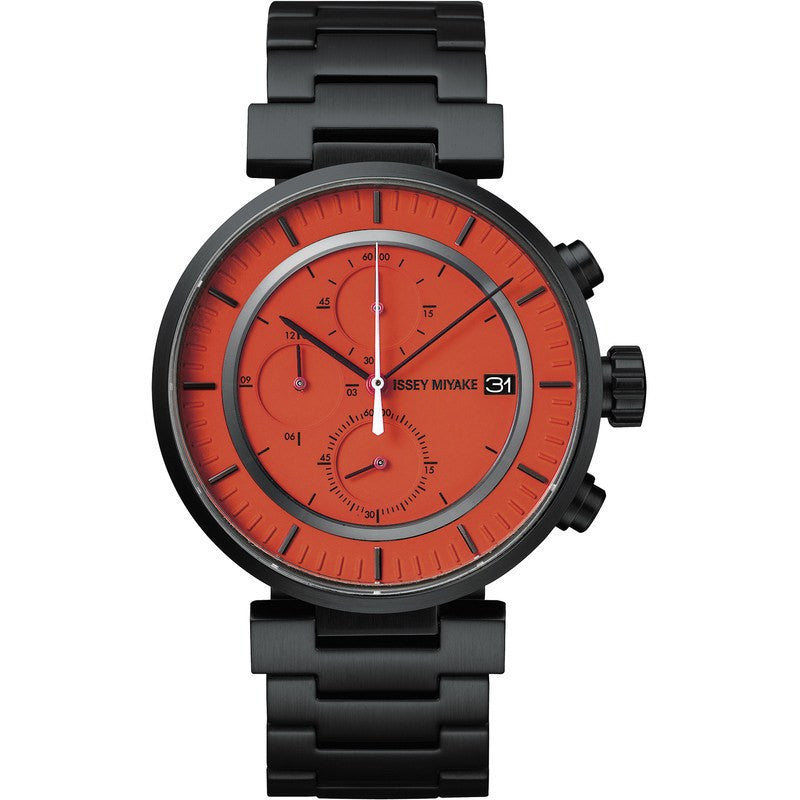 Issey Miyake W Orange Chronograph Watch | Black Steel SILAY005