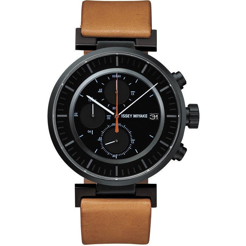Issey Miyake W Black Chronograph Watch | Natural Leather SILAY006