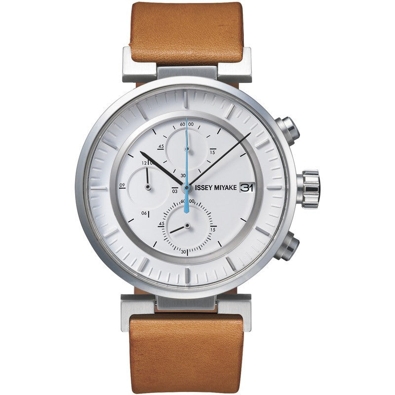 Issey Miyake W White Chronograph Watch | Natural Leather SILAY008