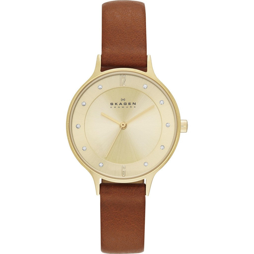 Skagen Anita Gold Watch | Leather SKW2147