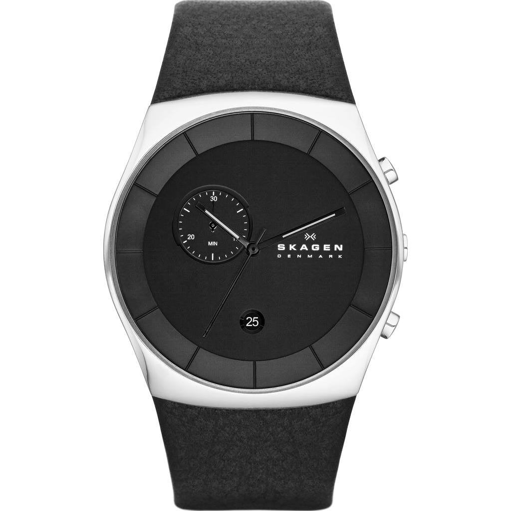 Skagen Havene Black Chronograph Watch | Leather SKW6070