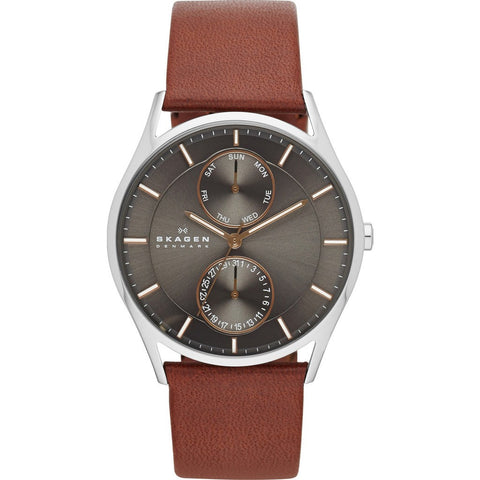 Skagen Holst Grey Multifunction Watch | Leather SKW6086