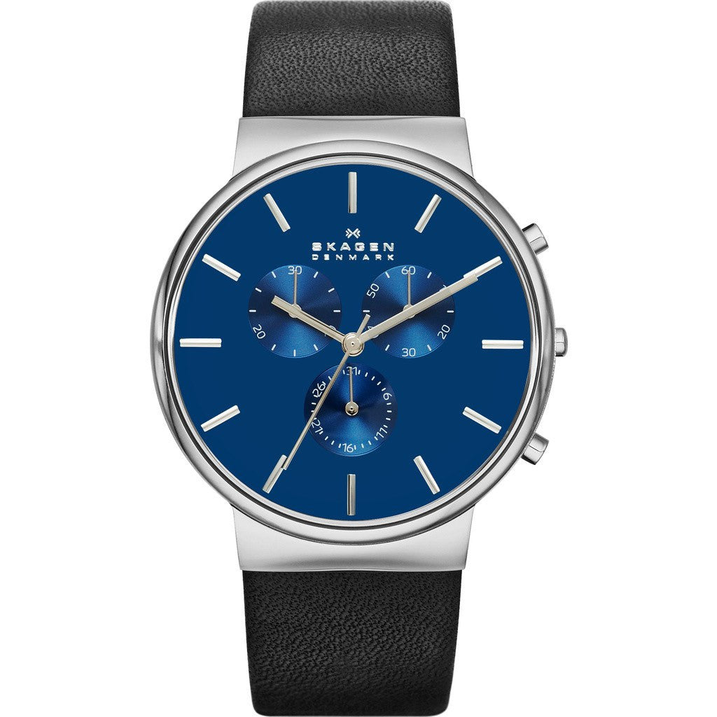 Skagen Ancher Blue Chronograph Watch | Leather SKW6105