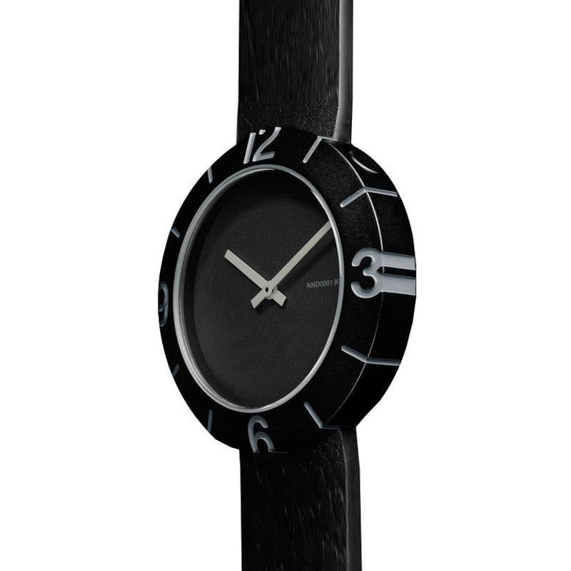 Nava Design Slice Numbers Watch | Black O490N