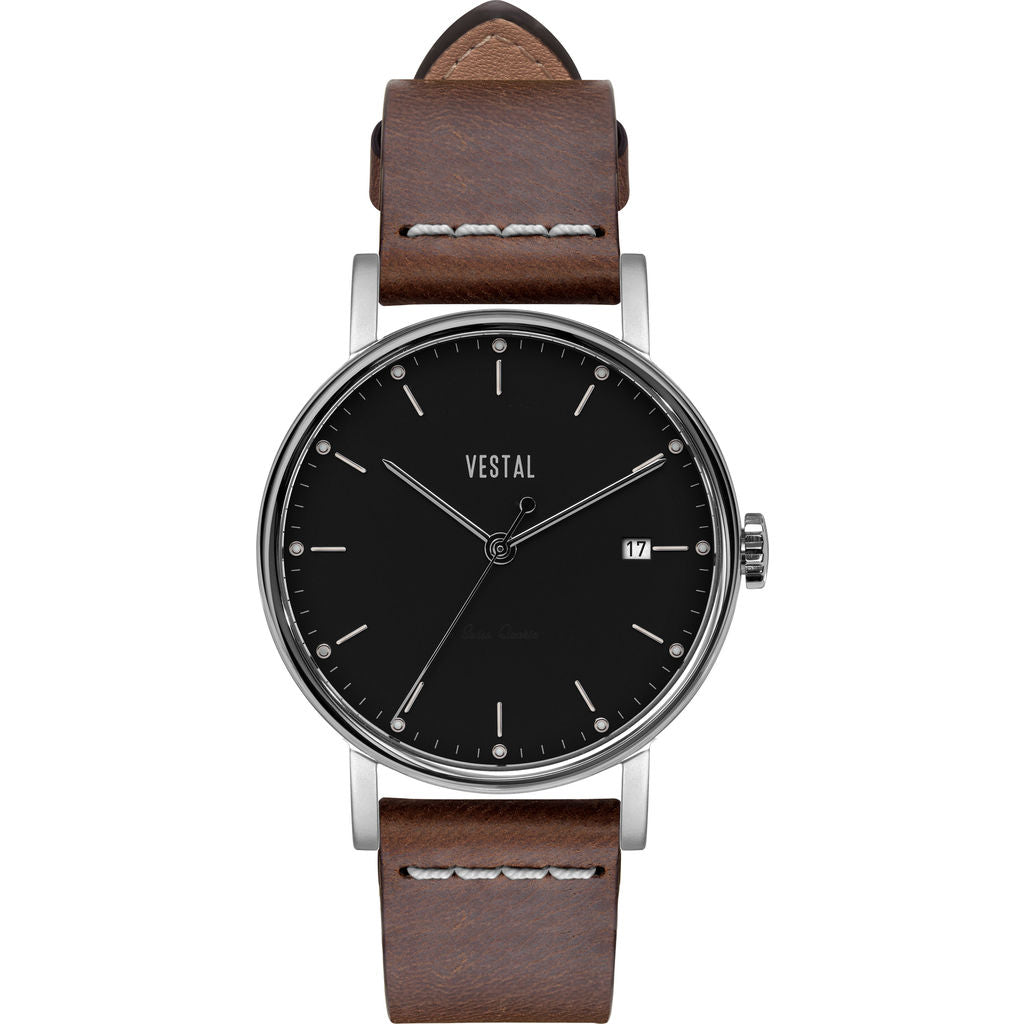 Vestal The Sophisticate 36 Italian Leather Watch | Light Brown/Silver/Black