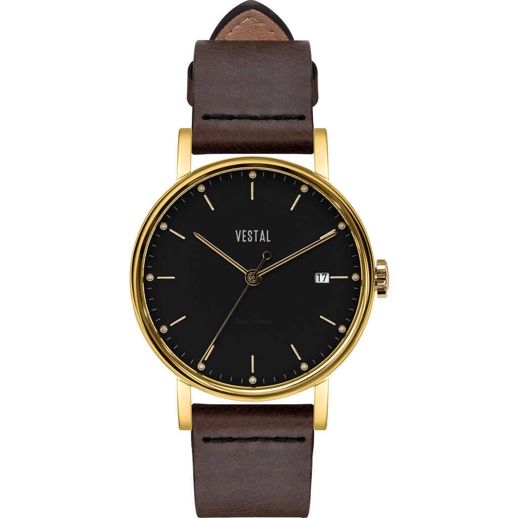Vestal The Sophisticate 36 Italian Leather Watch | Dark Brown/Gold/Black