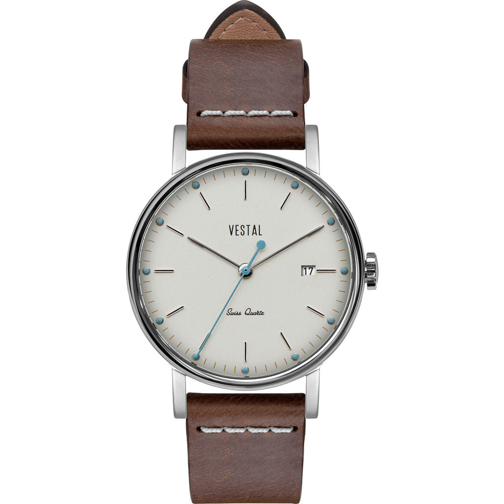 Vestal The Sophisticate 36 Italian Leather Watch | Light Brown/Silver/White-Blue