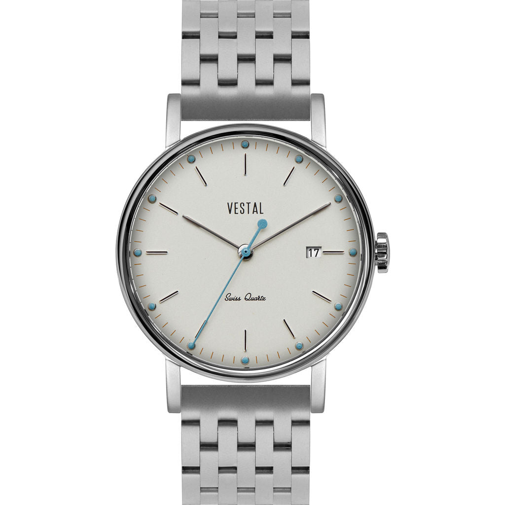 Vestal The Sophisticate 36 7-Link Metal Watch | Silver/White-Blue
