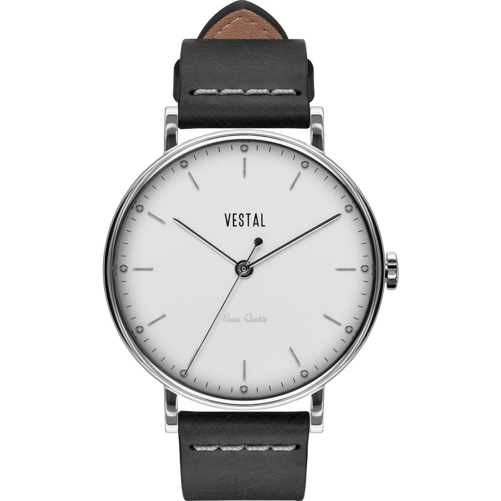 Vestal The Sophisticate Italian Leather Watch | Black/Silver/White