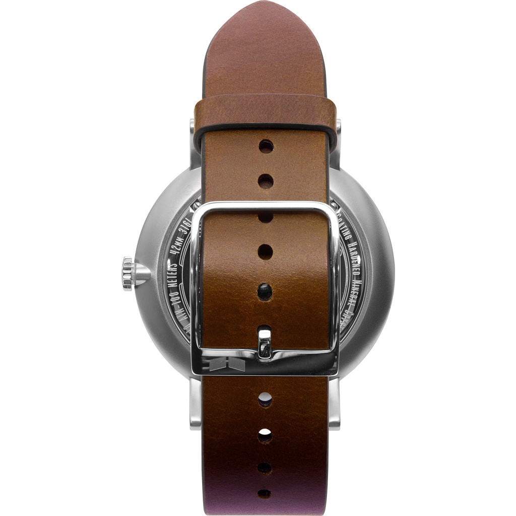 Vestal The Sophisticate Italian Leather Watch | Light Brown/Silver/White