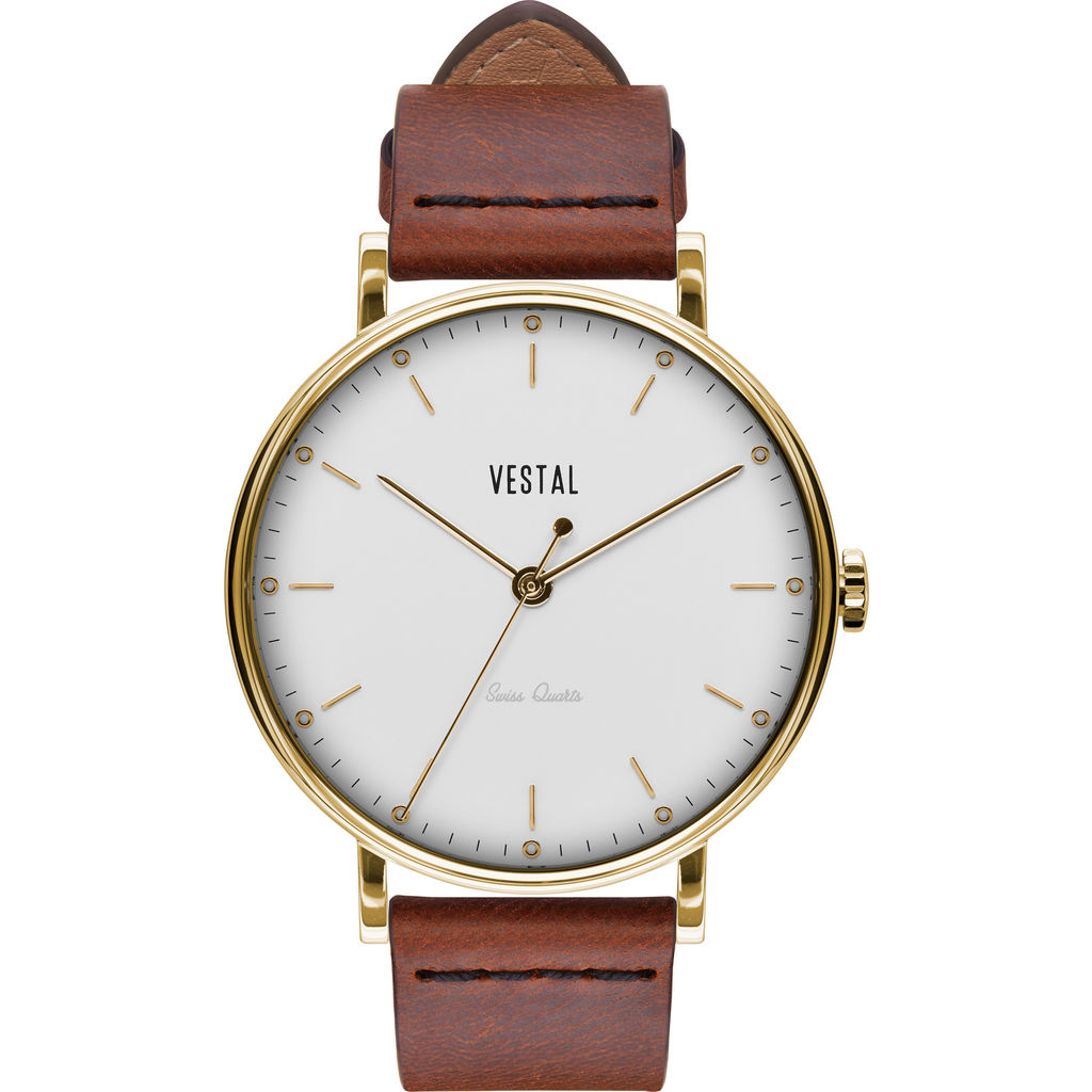 Vestal The Sophisticate Italian Leather Watch | Cordovan/Gold/White